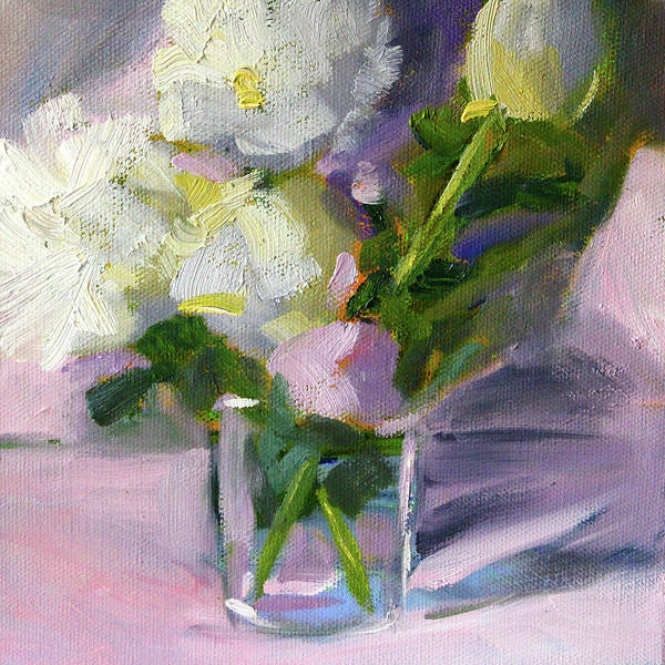 Wall Art - Painting - White Peonies by Nancy Merkle