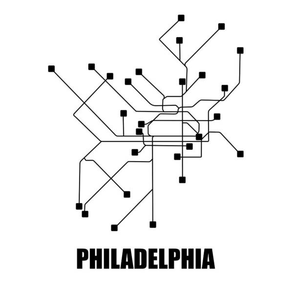 Wall Art - Digital Art - White Philadelphia Subway Map by Naxart Studio
