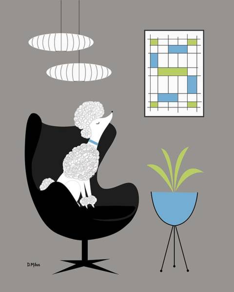 Digital Art - White Poodle In Black Egg Chair by Donna Mibus