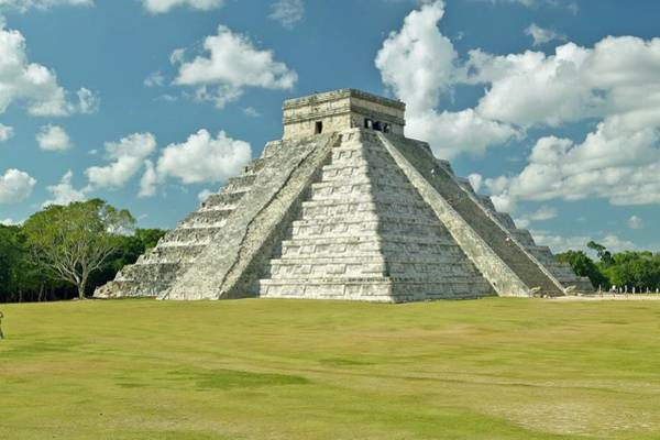 Chichen Itza Photograph - White Puffy Clouds Over The Mayan by Visionsofamerica/joe Sohm