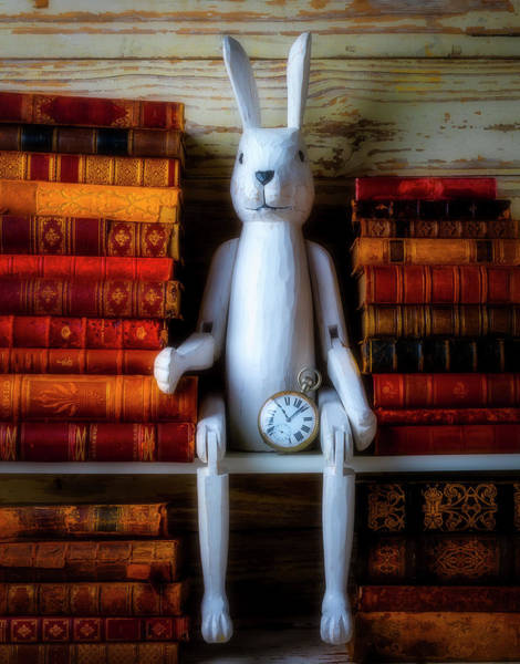 Photograph - White Rabbit With Old Books by Garry Gay