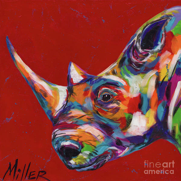 Wall Art - Painting - White Rhino In Red by Tracy Miller