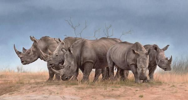 Rhino Painting - White Rhinos Panoramic by Rachel Stribbling