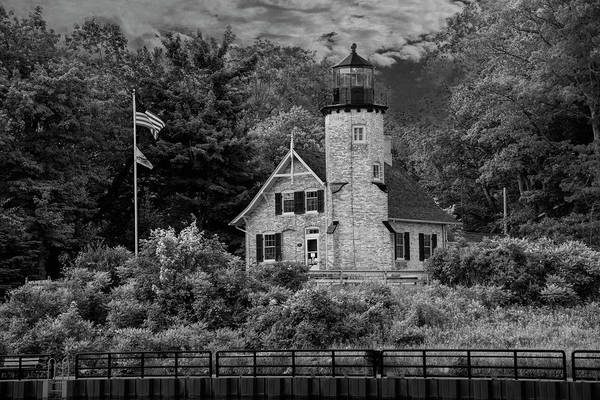 Wall Art - Photograph - White River Lighthouse In Black And White In Summer By Whitehall by Randall Nyhof