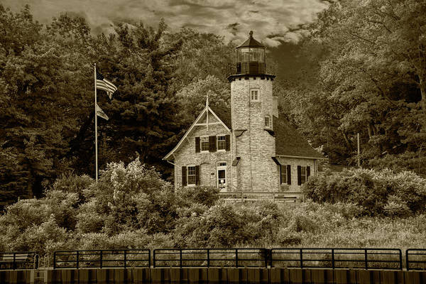 Wall Art - Photograph - White River Lighthouse In Sepia Tone In Summer By Whitehall Mich by Randall Nyhof
