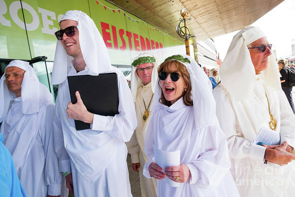 Photograph - White Robed Bards At The Welsh National Eisteddfod by Keith Morris