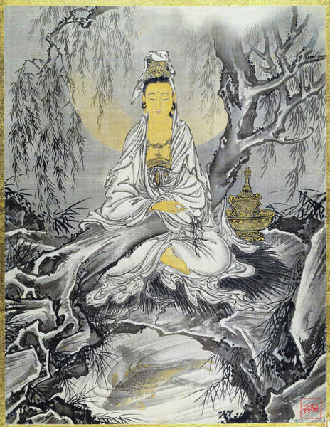 Believers Painting - White-robed Kannon - Digital Remastered Edition by Kawanabe Kyosai