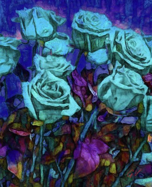 Garden Roses Digital Art - White Roses In The Garden On A Moonlit Night by Vitaliy Gladkiy