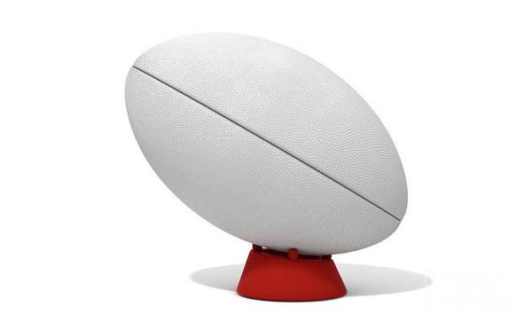 Wall Art - Digital Art - White Rugby Ball by Allan Swart
