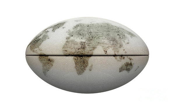 Wall Art - Digital Art - White Rugby Ball And World Map by Allan Swart