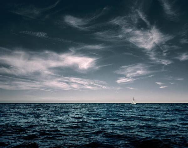 Sailing Photograph - White Sail Boat On Sea by Rjw