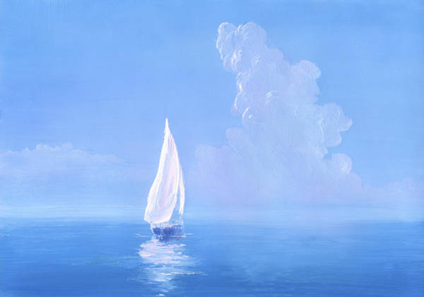 Luxury Yacht Digital Art - White Sail On Calm Sea by Pobytov