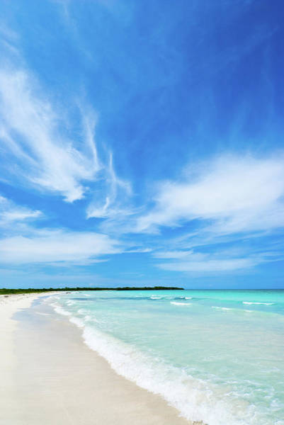 Wall Art - Photograph - White Sand Beach And Blue Cloudy Sky by Apomares