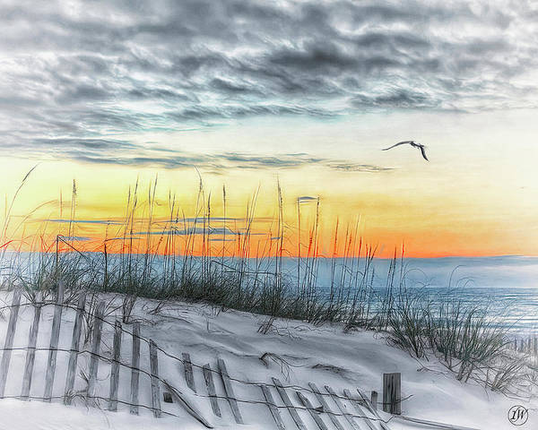 Fence Post Digital Art - White Sands Beach At Sunset by Rick Wiles