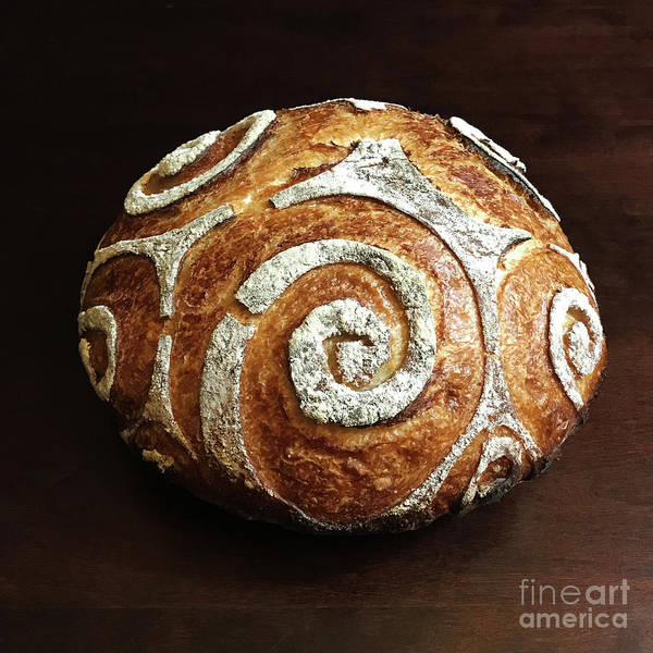 Photograph - White Spiral Scored Sourdough 1 by Amy E Fraser