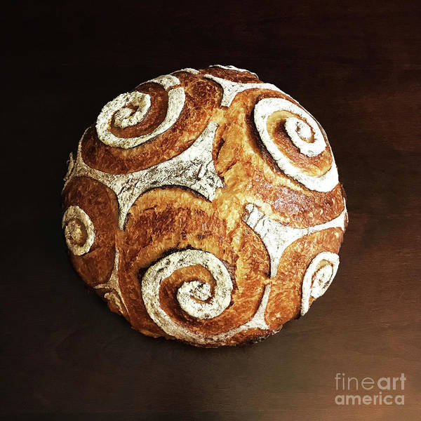 Photograph - White Spiral Scored Sourdough 2 by Amy E Fraser