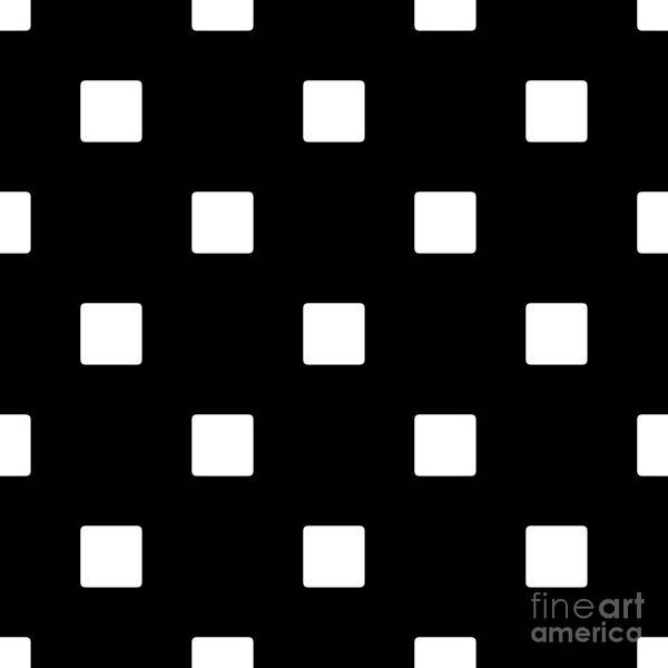 White Squares On A Black Background- Ddh576 Art Print