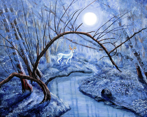 Oregon Wildlife Wall Art - Painting - White Stag At Dunawi Creek by Laura Iverson
