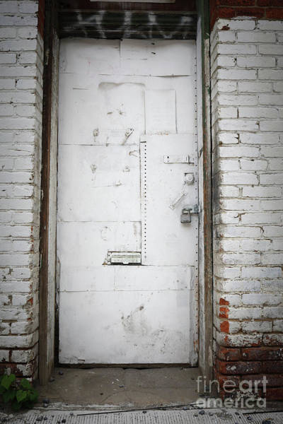 Wall Art - Photograph - White Steel Factory Door Chinatown Washington Dc by Edward Fielding