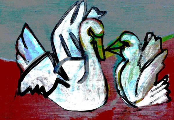 Digital Art - White Swans by Artist Dot