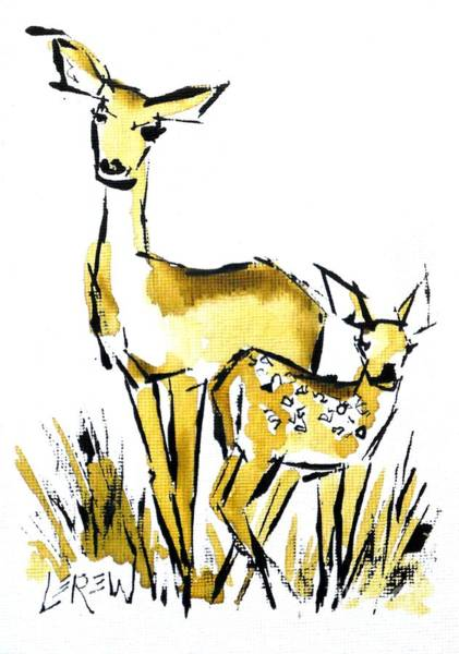 White Tailed Deer Drawing - White Tail Doe And Fawn Deer by Larry Lerew
