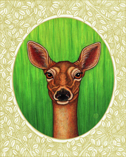 Painting - White Tailed Doe Portrait - Cream Border by Amy E Fraser
