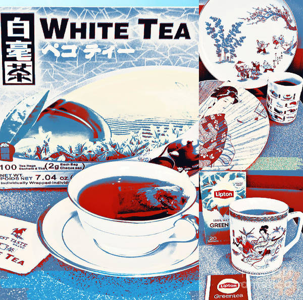Wall Art - Digital Art - White Tea In Blue And White by Karen Francis