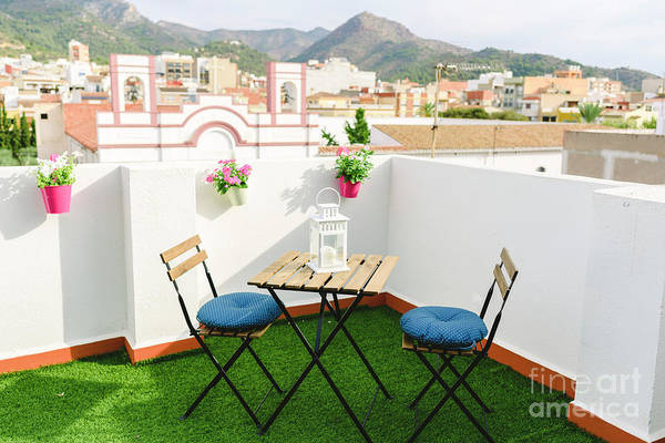Photograph - White Terrace For Coffee Overlooking The Village And Mexican Mountain, Blue Sky. by Joaquin Corbalan