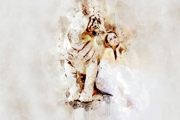 Partner Painting - White Tiger And Woman by ArtMarketJapan