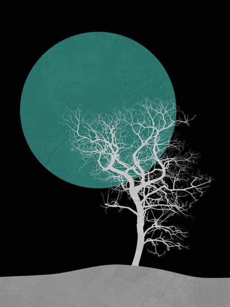 Earth Day Wall Art - Mixed Media - White Tree And Big Moon by Naxart Studio