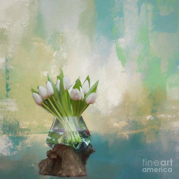 Mixed Media - White Tulips by Eva Lechner