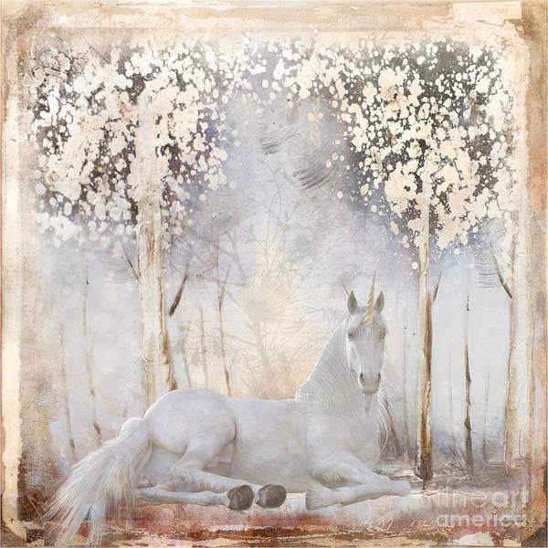 Wall Art - Digital Art - White Unicorn by Elisabeth Lucas