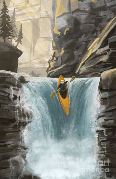 Painting - White Water Kayaking by Sassan Filsoof