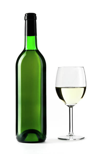 Bottle Green Photograph - White Wine Bottle With Wine Glass by Domin domin