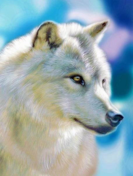 Predator Painting - White Wolf by ArtMarketJapan