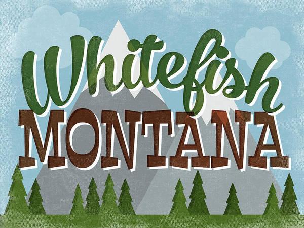 Wall Art - Digital Art - Whitefish Montana Retro Mountains by Flo Karp