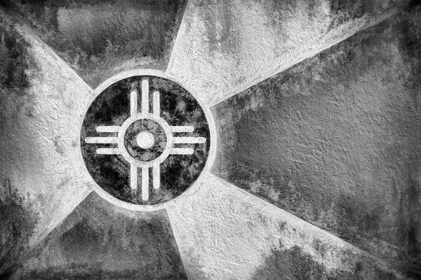 Wall Art - Digital Art - Wichita City Flag Black And White by JC Findley