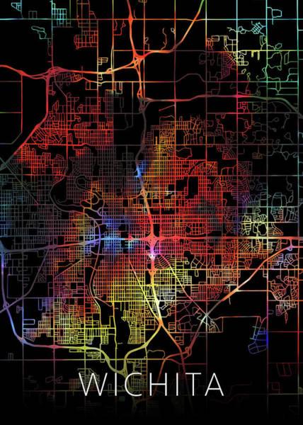 Wall Art - Mixed Media - Wichita Kansas Watercolor City Street Map Dark Mode by Design Turnpike