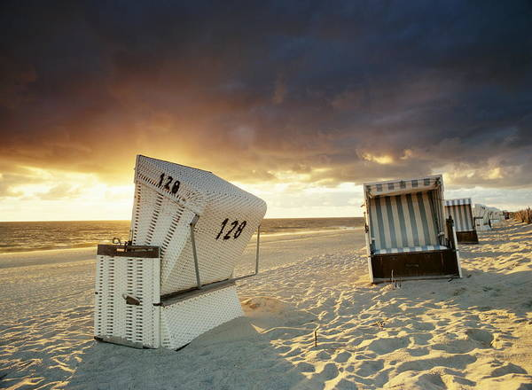Lounge Chair Photograph - Wicker Beach Chairs, Hornum, Sylt by Jorg Greuel