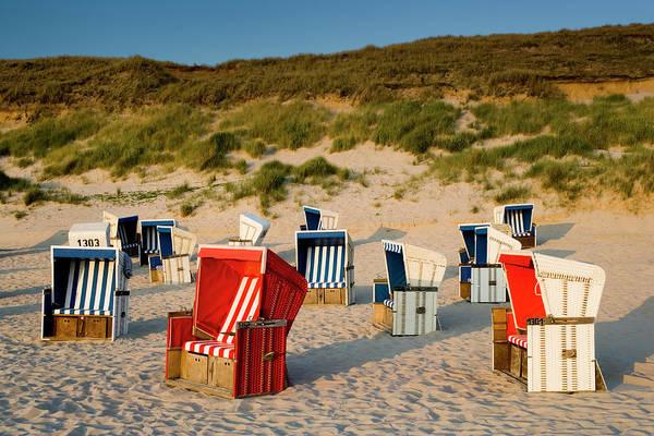 Wall Art - Photograph - Wicker Beach Chairs On Beach by Jorg Greuel