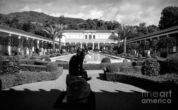 Wall Art - Photograph - Wide Angle Getty Villa Black White  by Chuck Kuhn