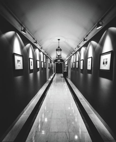 Photograph - Wide Angle Long Corridor Diminishing Perspective by Alexandre Rotenberg