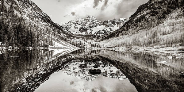 Wall Art - Photograph - Wide Angle Maroon Bells Panoramic Landscape - Sepia by Gregory Ballos
