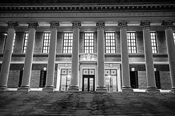 Photograph - Widener Library Harvard Yard Harvard Square Cambridge Ma Black And White by Toby McGuire