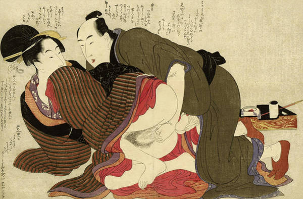 Wall Art - Painting - Married Man And Widow, 1799 by Kitagawa Utamaro