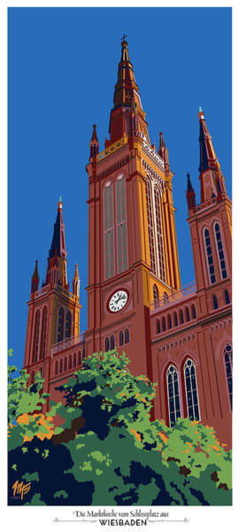 Wiesbaden Marktkirche  Art Print