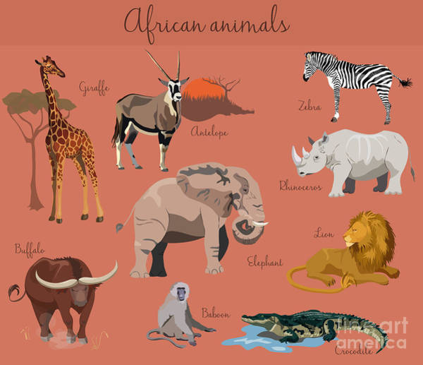 Wall Art - Digital Art - Wild African Animals Set With Nature by Lemberg Vector Studio