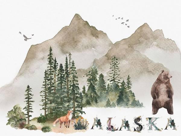 Painting - Wild Alaska Travel Poster V2 by Celestial Images