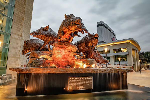 Wall Art - Photograph - Wild Band Of Razorbacks Fountain At Donald W Reynolds Stadium - Fayetteville Arkansas by Gregory Ballos