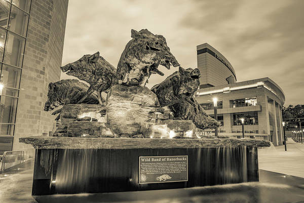 Wall Art - Photograph - Wild Band Of Razorbacks Fountain At Donald W Reynolds Stadium - Fayetteville Arkansas Sepia by Gregory Ballos